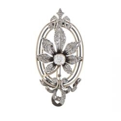 Antique 10K Yellow Gold and Silver Diamond Flower Pendant