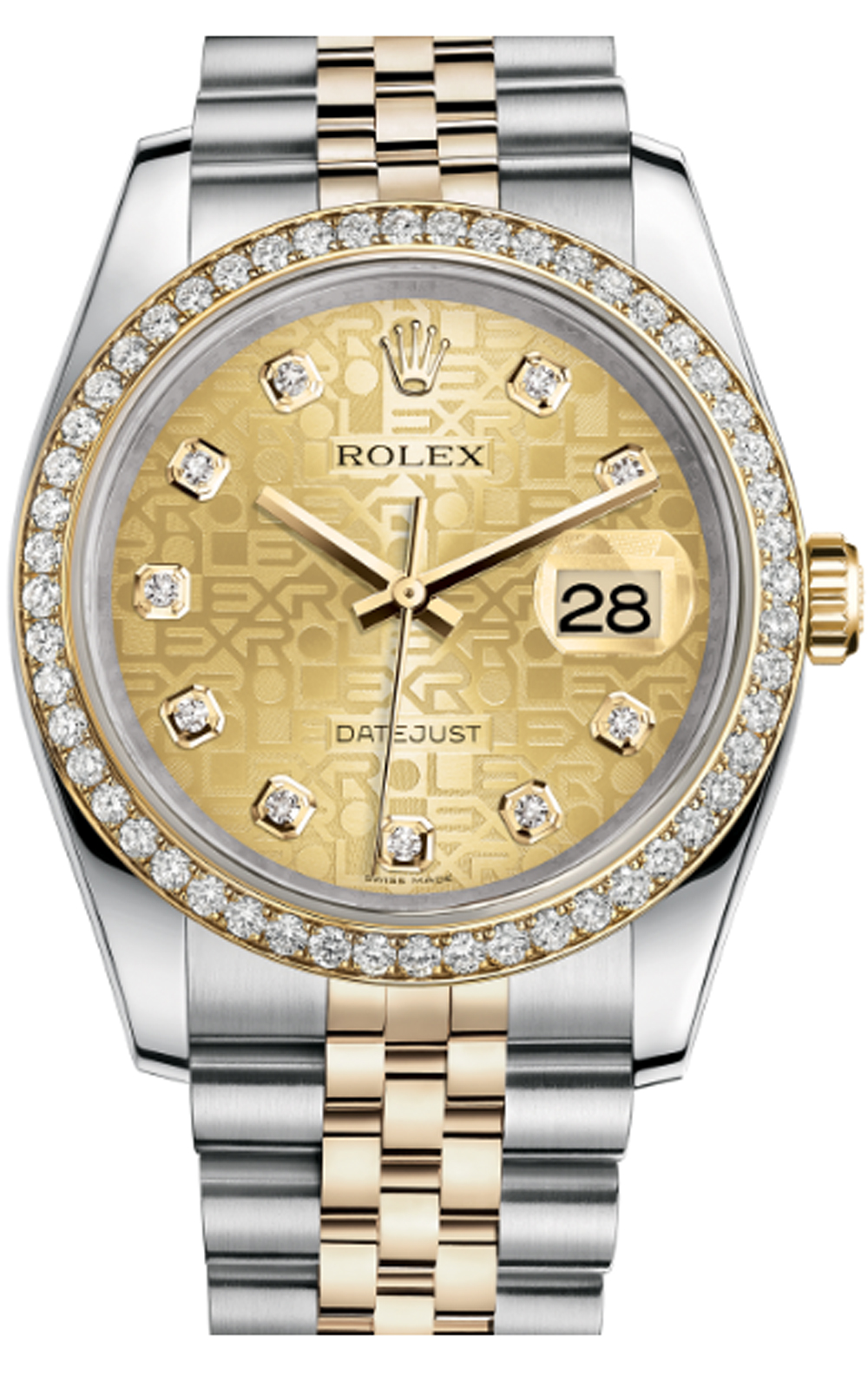 Mẫu Rolex Datejust oyster steel, yellow gold and diamonds 116243-0004, 36mm