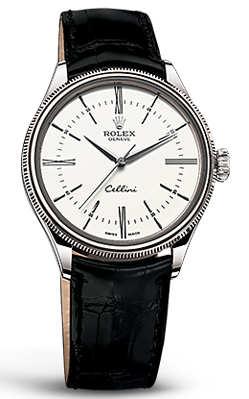 đồng hồ Rolex cellini time 18 ct white gold, polished finish black leather 50509-0007, 39mm