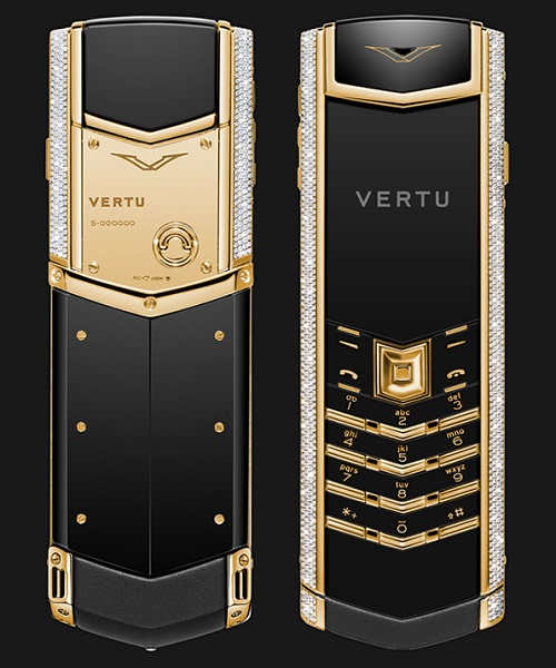 Điện thoại Vertu Signature S Yellow Gold Full Pave Baguette Diamonds